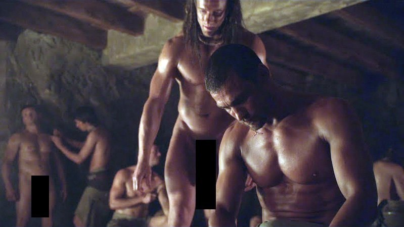 andy whitfield manu bennett showing off spartacus bulge images 2014