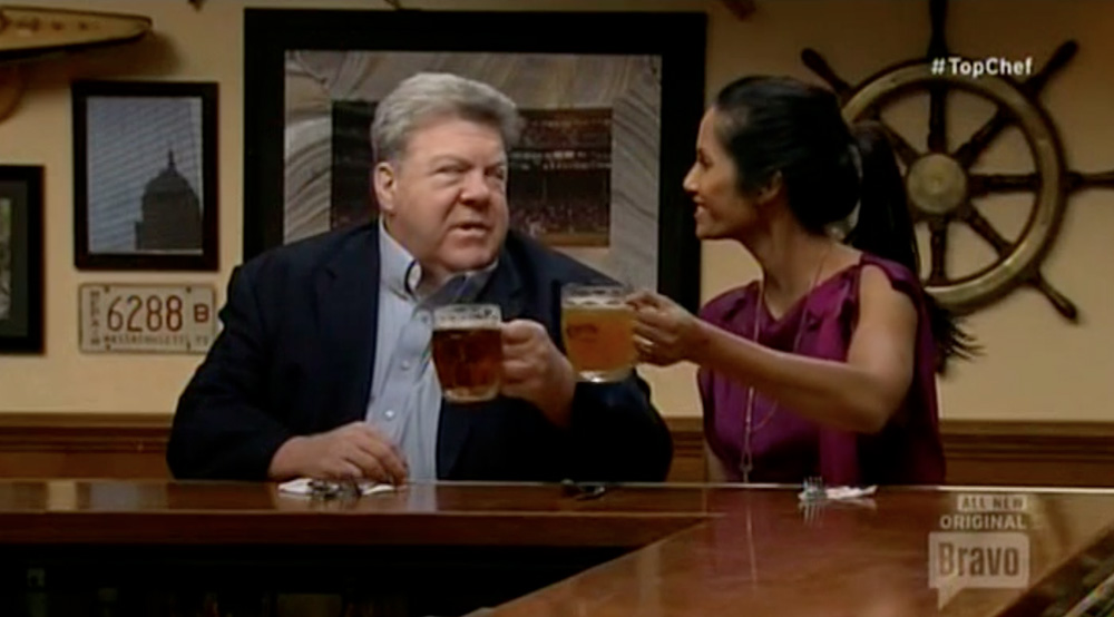 george wendt cheer on top chef boson with padma 2014