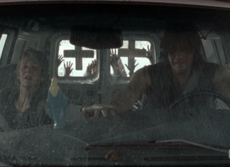 walking dead season 5 consumed carol with darryl in falling van with zombies
