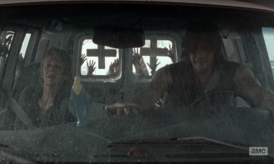 walking dead season 5 consumed carol with darryl in falling van with zombies