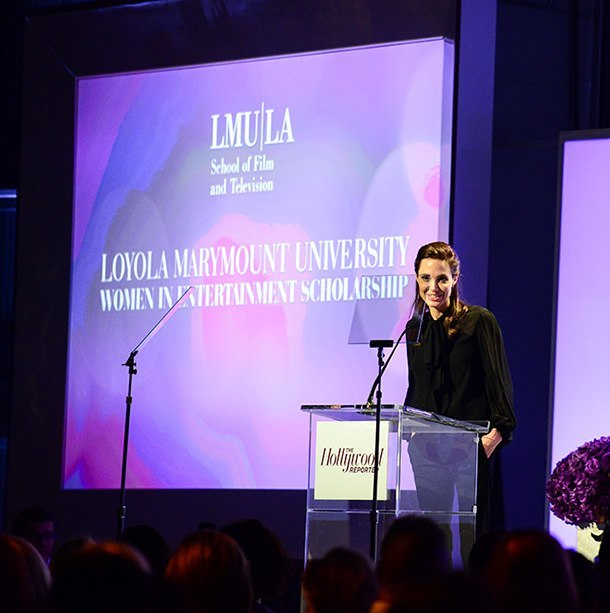 angelina jolie gives scholarships hollywood reporter event 2014