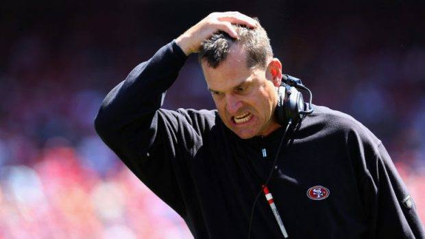 jim harbaugh crazy eyed on 49ers tailspin 2014 images