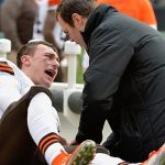 johnny manziel injured by luke kuechly bulge nfl cry