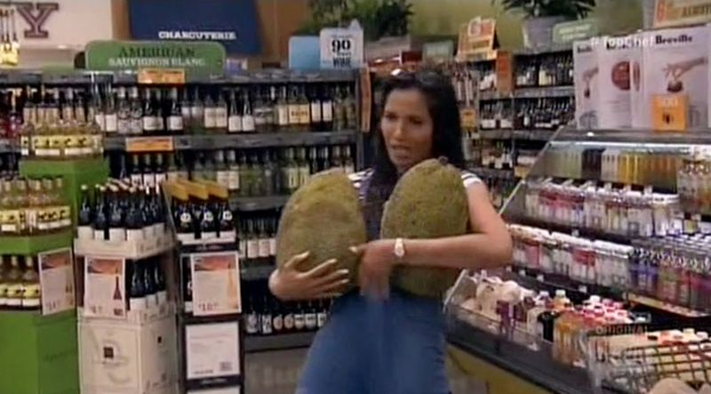padma gets some jackfruit for top chef boston chefs