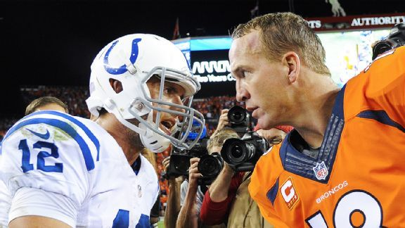 andrew luck and peyton manning face off colts vs broncos nfl 2015