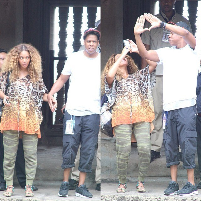 beyonce looking pregnant with jay z in cambodia vacation 2015 imags