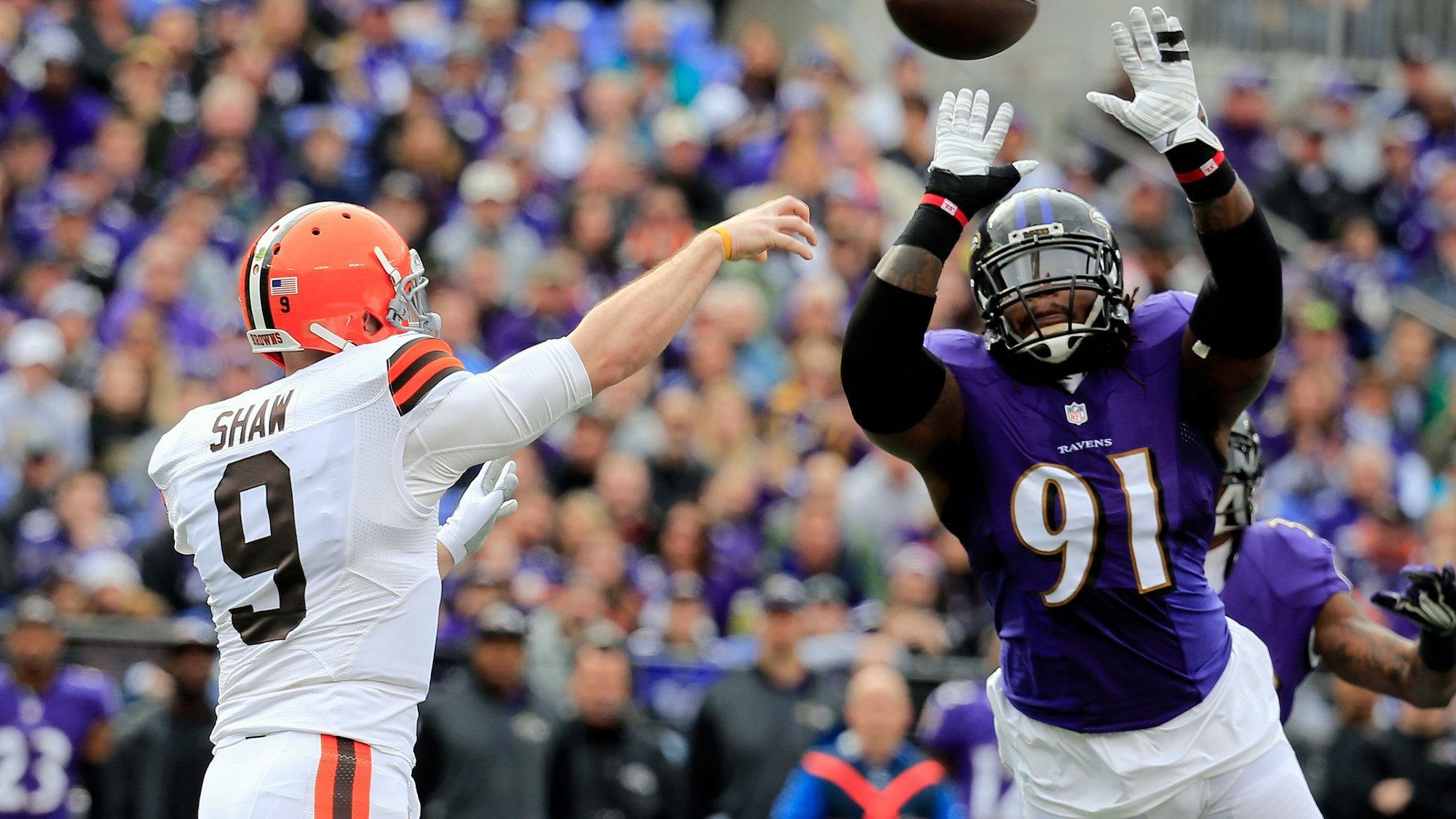 connor shaw cleveland knocked out by ravens nfl 2015 images