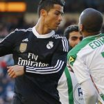 cristiano ronaldo strikes cordoba defender in face for two game ban 2015 images