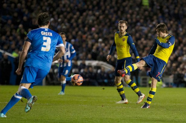 gunners beat brighton arsenal for fa cup fourth round 2015 images