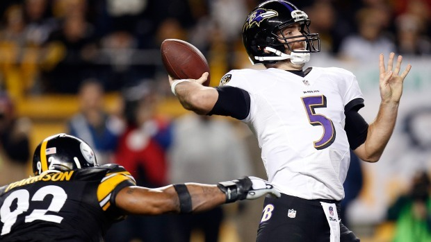 joe flacco beats pittsburgh steelers with ravens nfl wild card 2015 images