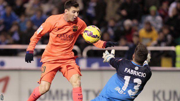 la liga barcelona forward lionel messi high score soccer 2015 images