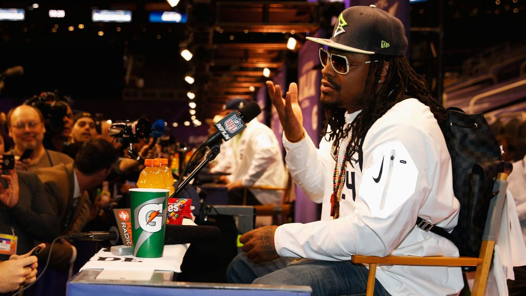 marshawn lynch beast mode showed up for super bowl week 2015