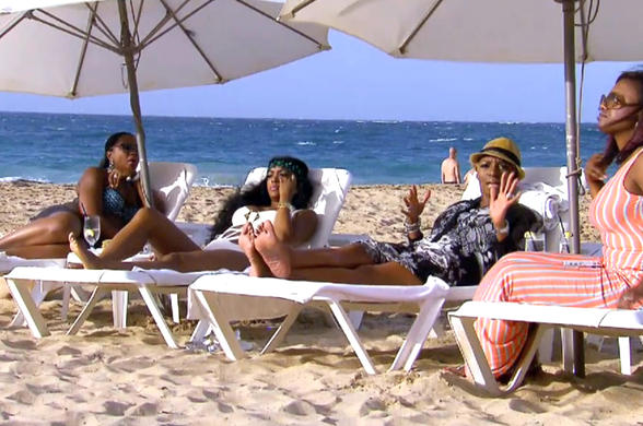 nene leakes khandi porsha with phaedra parks on beach real housewives of atlanta 2015