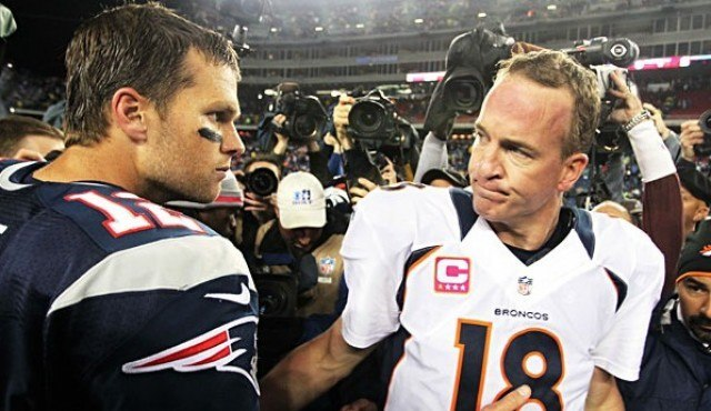 peyton manning feeling up tom brady with denver versus patriots playoff 2015 nfl images