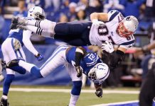 rob gronkowski flying over colts for championship nfl 2015