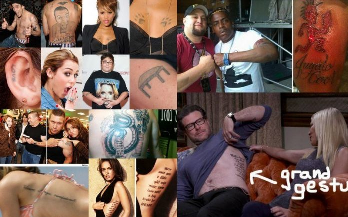 top 10 craziest celebrity tattoo images 2015