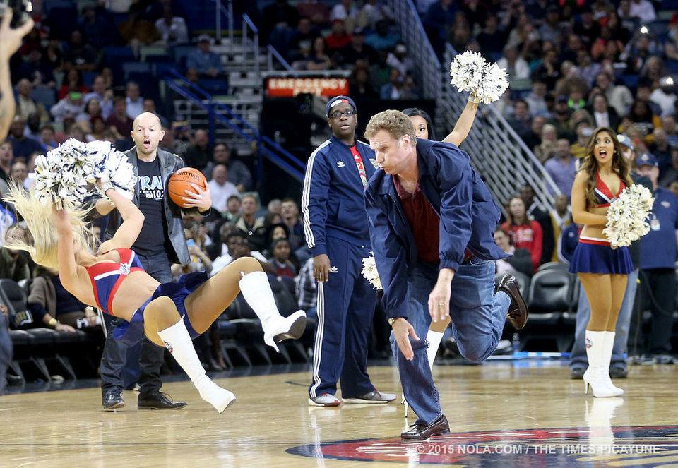 will ferrell throws balls into cheerleader 2015