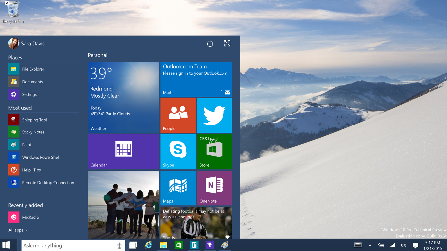 windows 10 start menu back unveiled 2015