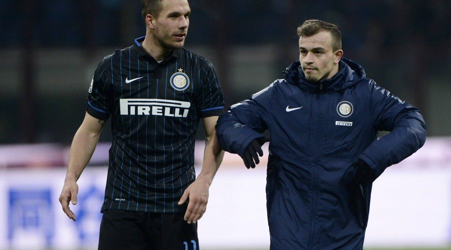 Xherdan Shaqiri and Lukas Podolski not working for inter milano 2015 images