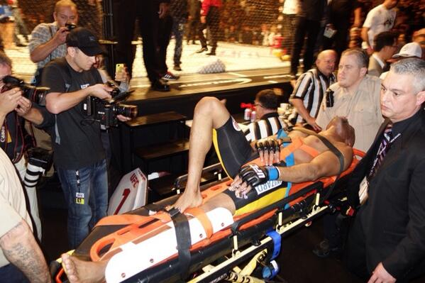anderson silva being carried out of ufc ring 2015