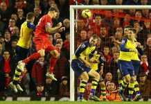 arsenal vs liverpool jumping soccer action 2015 images