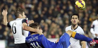 cesena defeats juventus serie a game soccer 2015 images