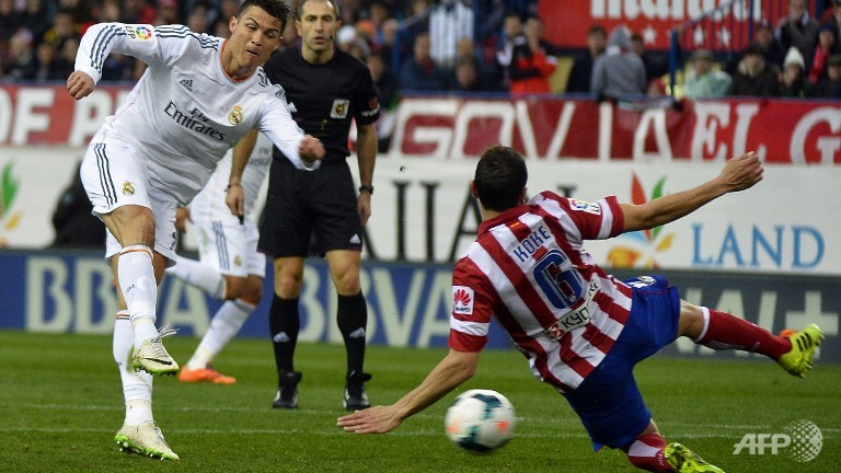 cristiano ronaldo kicking ball or atletico madrid for real madrid la liga 2015