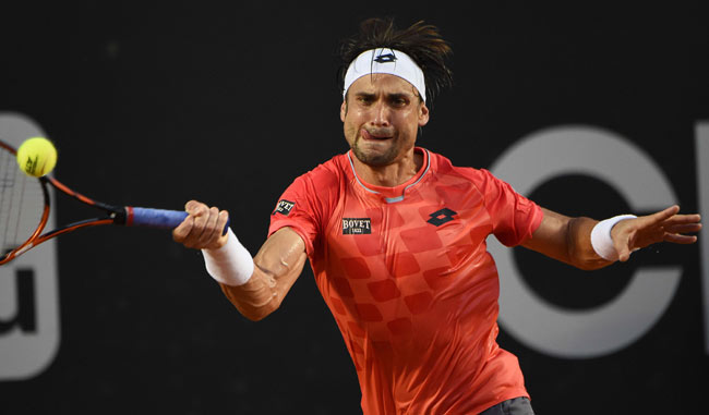 david ferrer slamming back ball for fabio fognini win rio open 2015