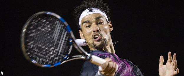 fabio fognini mouth stretched bare for david ferrer back rio open 2015