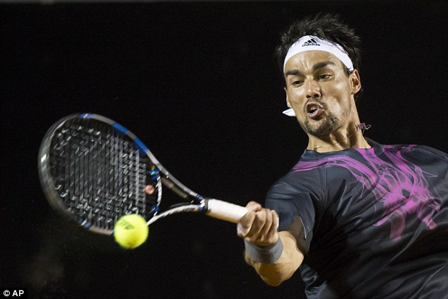 fabio fognini slams bare ball tennis into rafael nadal back rio open 2015