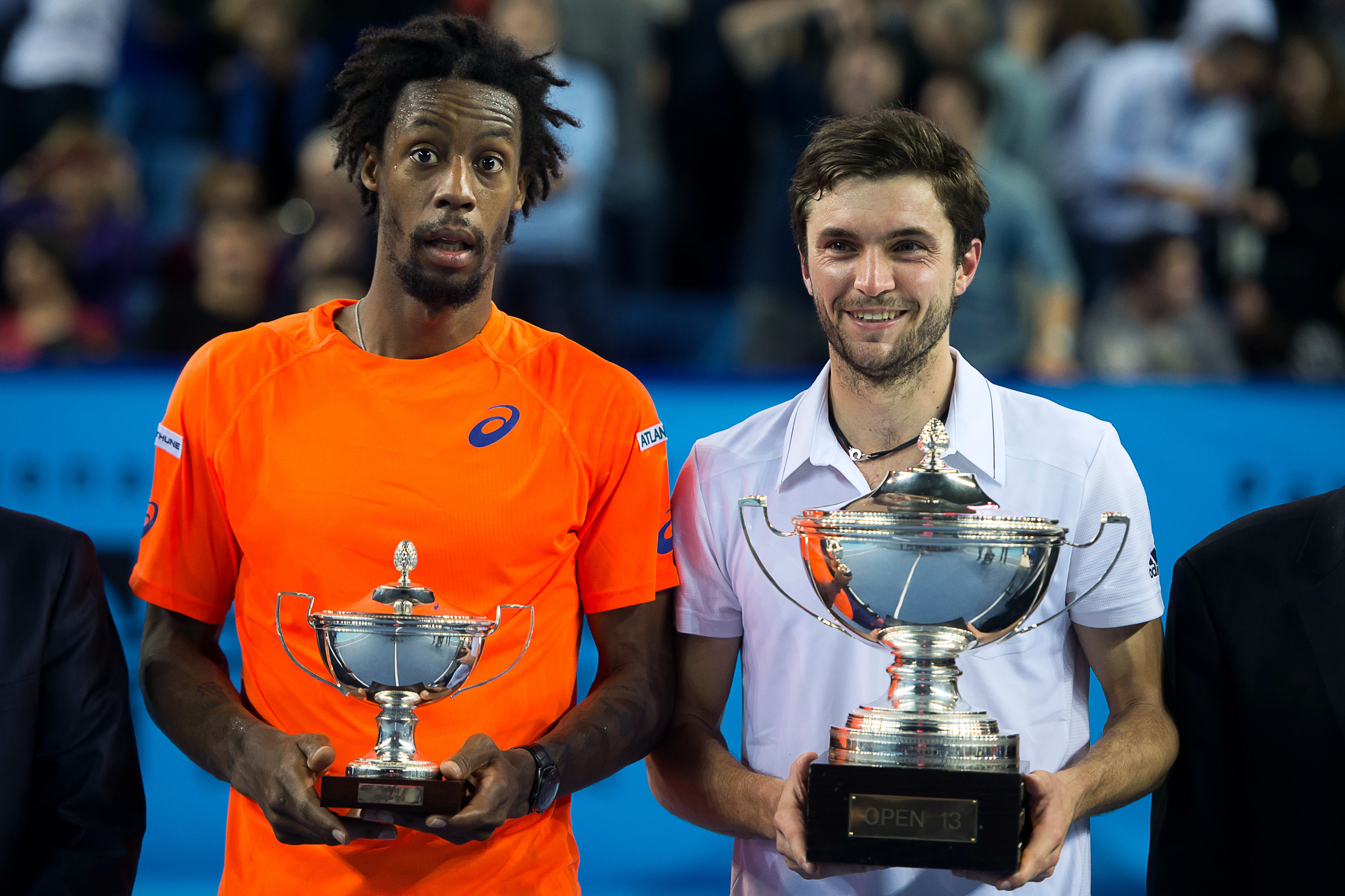gilles simon with gael monfils showing trophies for atp marseille open 13 images 2015