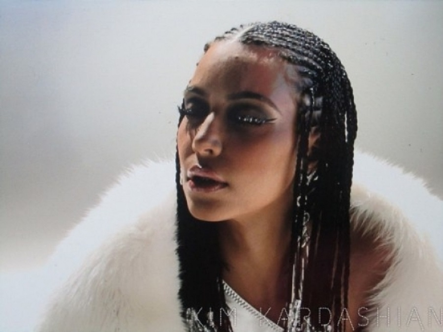 kim kardashian braids out for music video 2015
