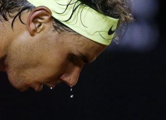 rafael nadal sweat dripping after defeating pablo cuevas rio tennis open 2015