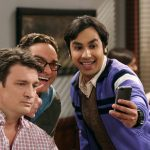 raj leonard with beefy nathan filian on big bang theory 2015