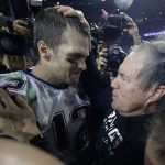 tom brady celebrating with patriots bill belichick super bowl xlix 2015