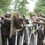 walking dead zombie walkers attacking gabriels church