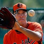 Ubaldo Jimenez catches balls for orioles baseball 2015