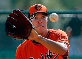 Ubaldo Jimenez catches balls for orioles baseball 2015