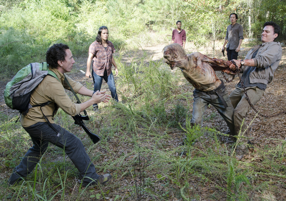 adrian torturing zombie on the walking dead remember 2015