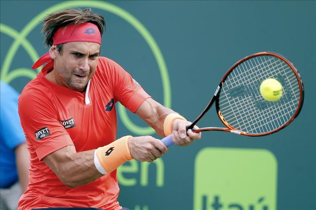 david ferrer powering balls at 2015 miami open masters