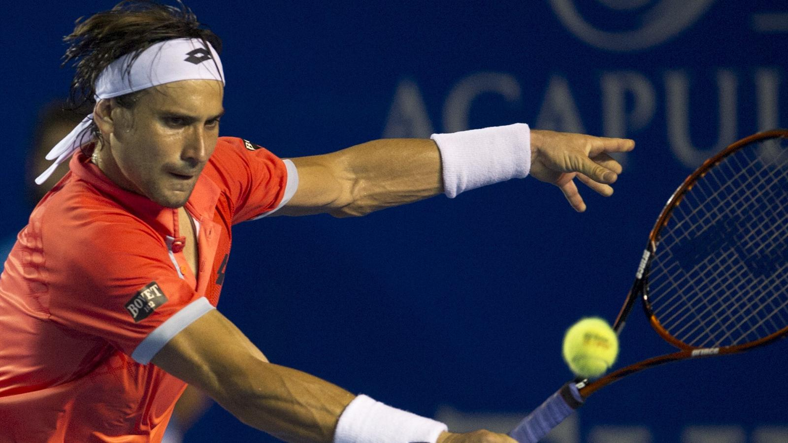 david ferrer returning balls to nishikori kei in acapulco tennis 2015