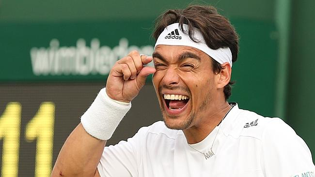 fabio fognini showing little pen size for rafael nadal 2015