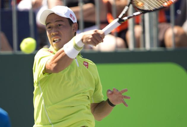 kei nishikori beats viktor troicki during 2015 miami open masters
