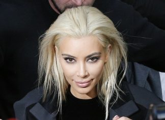 kim kardashian goes blonde for butte of jokes 2015