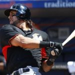 michael morse stroking hard for miami marlins mlb 2015