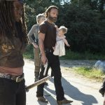 michonne walking with rick sagging baby for walking dead remember 2015