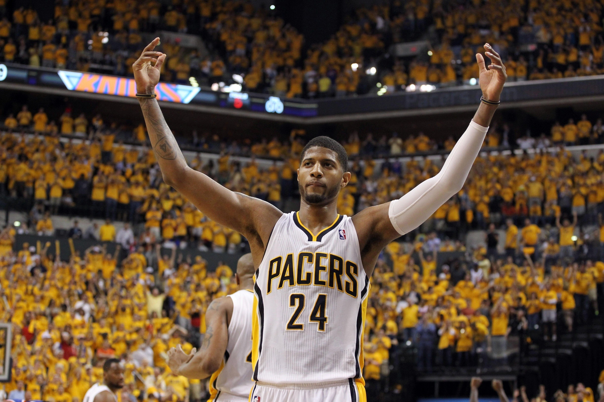 paul george of indiana pacers sidelines from playing 2015