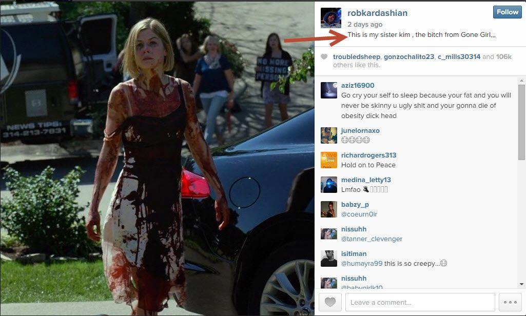 rob kardashian kim rant for gone girl 2015