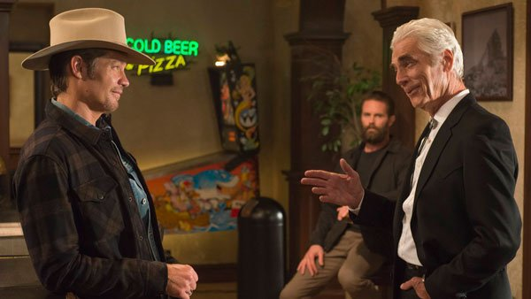 sam elliot with timothy olyphant on justified 2015
