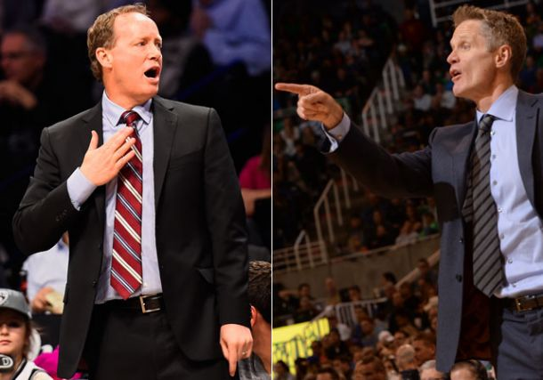 steve kerr with mike budenholzer coach of nba year 2015